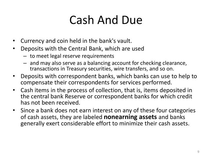 Cash And Due