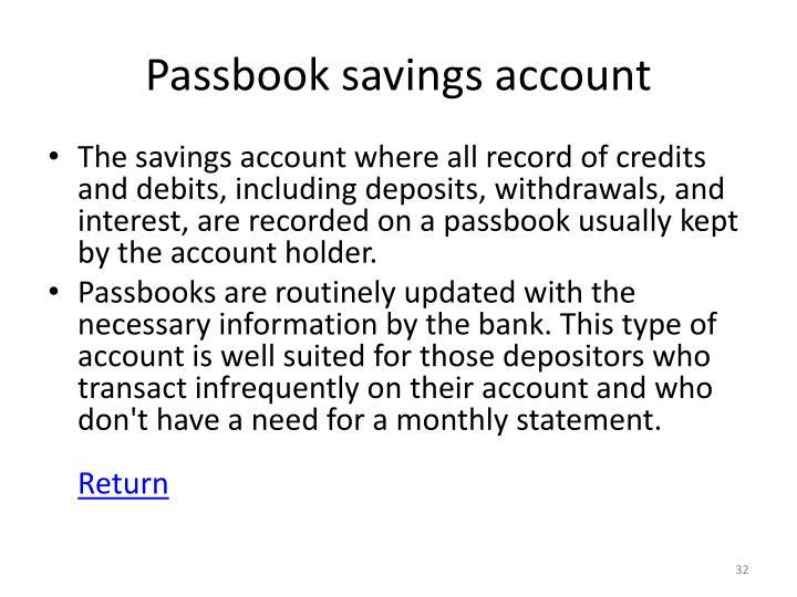 Passbook savings account