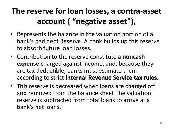 The reserve for loan losses, a contra-asset account
