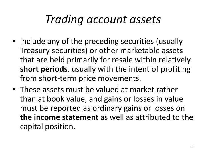 Trading account assets