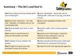 summary the do s and don ts