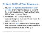 to keep 100 of your revenues