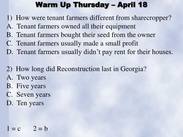 warm up thursday april 18 n.