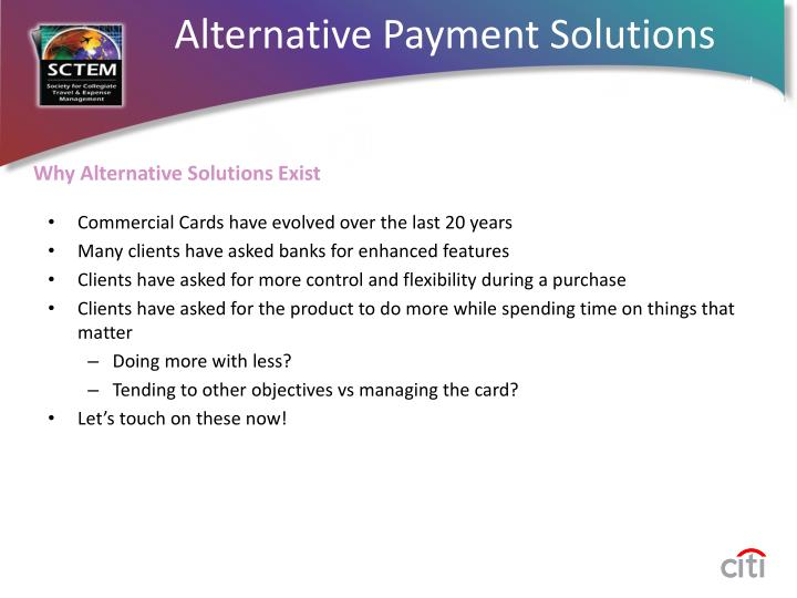 Alternative payment solutions1