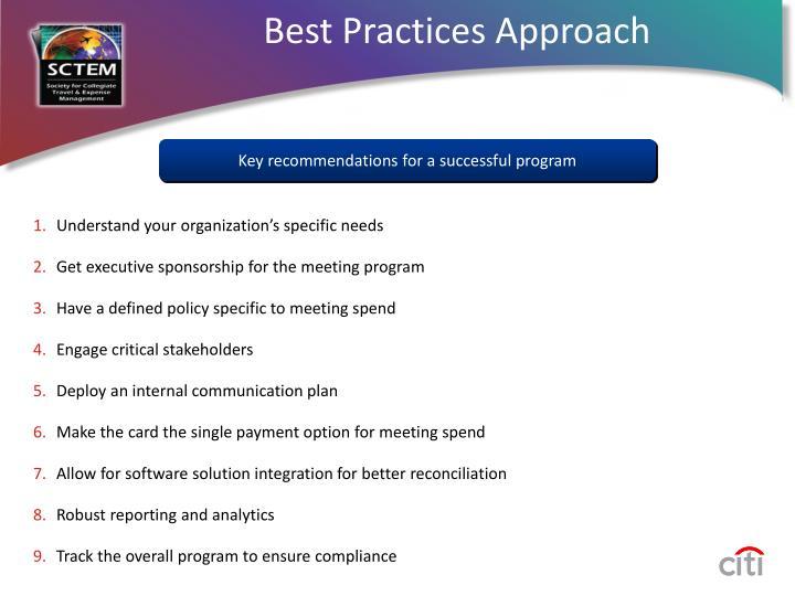 Best Practices Approach