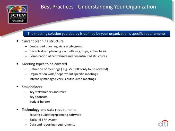 Best Practices - Understanding Your Organization