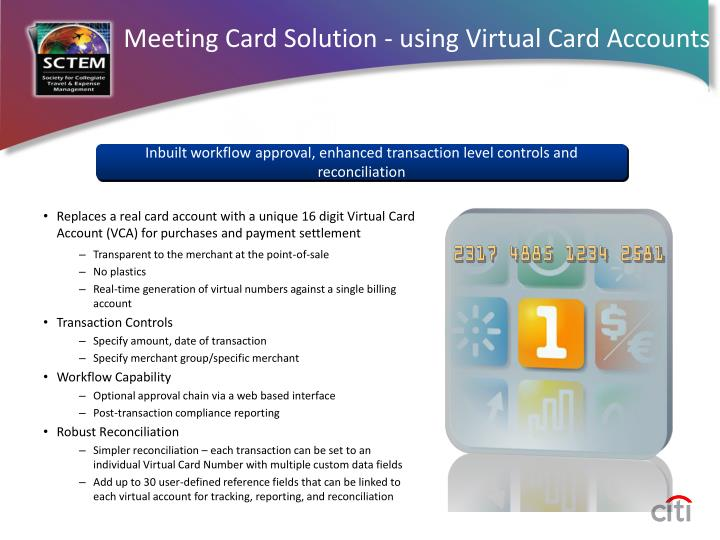 Meeting Card Solution - using Virtual Card Accounts