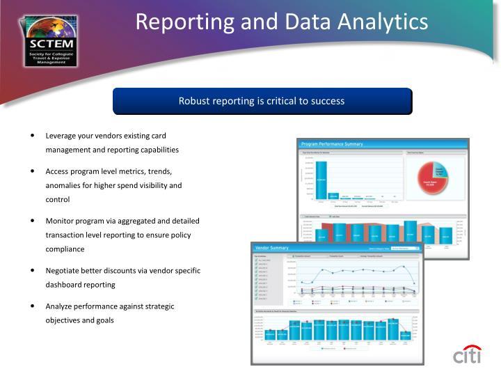 Reporting and Data Analytics