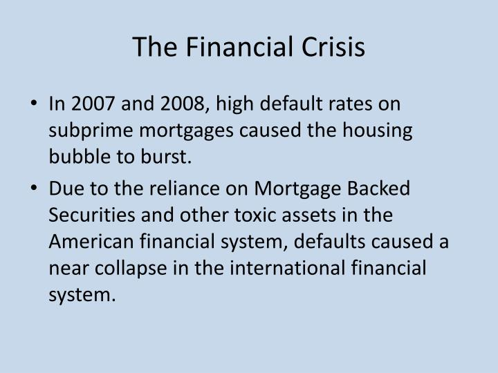 causes for the financial crisis of 2008 The financial crisis of 2007-2008 was a major financial crisis, the worst of its kind since the great depressionit became prominently visible in september 2008 with the failure, merger or conservatorship of several large united states-based financial firms.