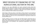 brief review of financing of the agricultural sector in the drc