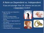 a note on dependent vs independent
