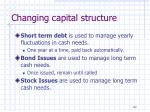 changing capital structure