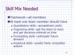 skill mix needed