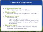 classes of in store retailers