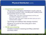 physical distribution cont