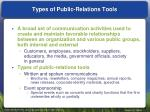 types of public relations tools