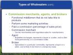 types of wholesalers cont