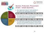 business production procurement stream sample questions