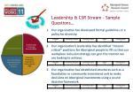 leadership csr stream sample questions