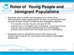 roles of young p eople and immigrant p opulations