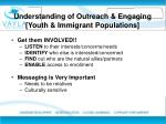 u nderstanding of outreach engaging youth immigrant populations