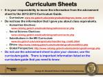 curriculum sheets