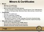 minors certificates