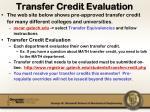 transfer credit evaluation
