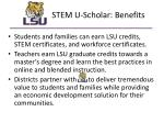 stem u scholar benefits