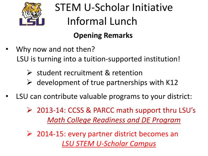 stem u scholar initiative informal lunch n.