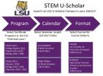stem u scholar launch an lsu u scholar campus in your district