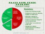fraud risk types leakage expenditure leakage