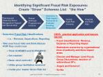 identifying significant fraud risk exposures create straw schemes list the how