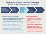 identifying significant fraud risk exposures create straw schemes list the what