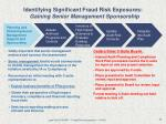 identifying significant fraud risk exposures gaining senior management sponsorship