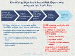identifying significant fraud risk exposures integrate into audit plan
