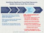 identifying significant fraud risk exposures update internal audit risk universe