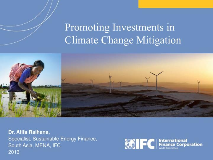 promoting investments in climate change mitigation n.