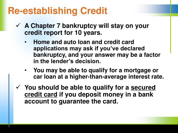 Re-establishing Credit