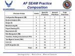 af seam practice composition