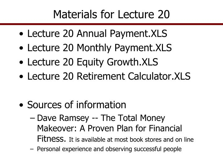 materials for lecture 20 n.