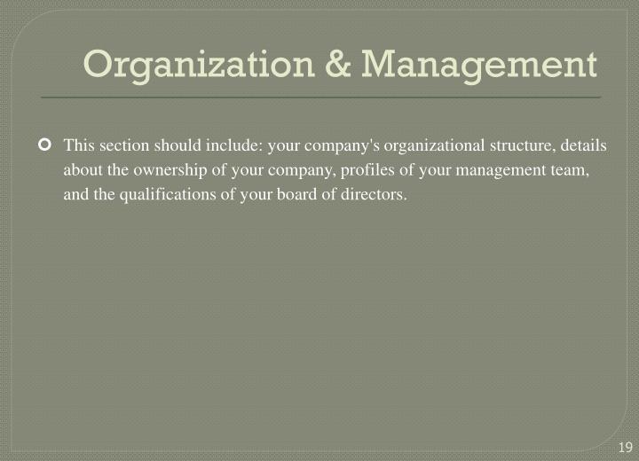 Organization & Management
