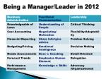 being a manager leader in 2012