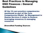 best practices in managing hso finances general guidelines
