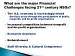 what are the major financial challenges facing 21 st century hsos