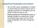 fraud prize sweepstakes and lotteries