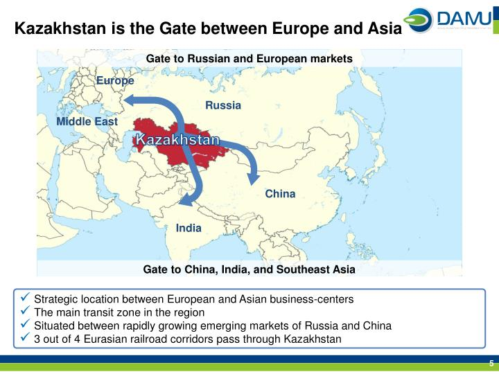Kazakhstan is the Gate between Europe and Asia