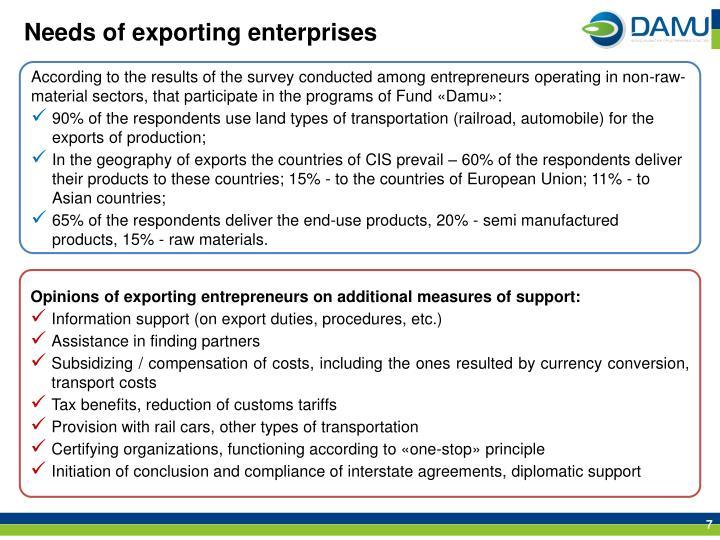 Needs of exporting enterprises