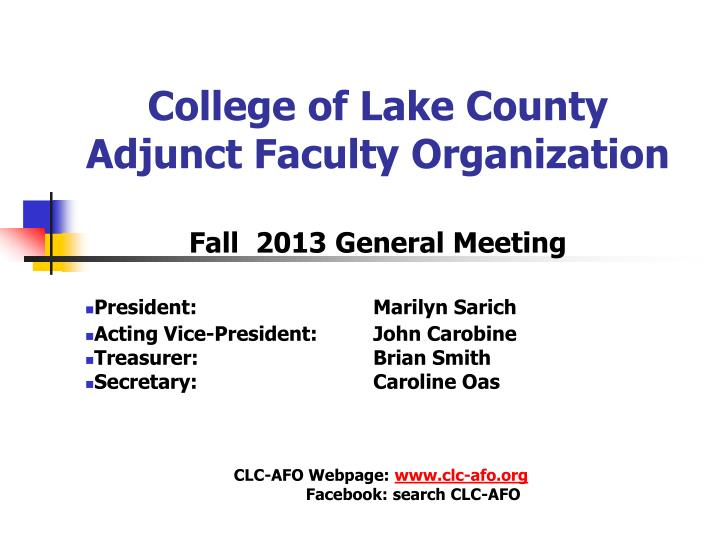 college of lake county adjunct faculty organization n.
