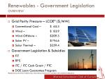 renewables government legislation overview
